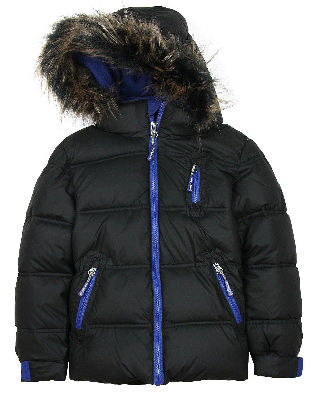 Deux par Deux Boys' Black Puffer Coat, Sizes 2-14
