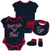 Outerstuff NFL NFL Houston Texans Newborn & Infant Mini Trifecta Bodysuit, Bib, and Bootie Set Deep Obsidian, 0-3 Months