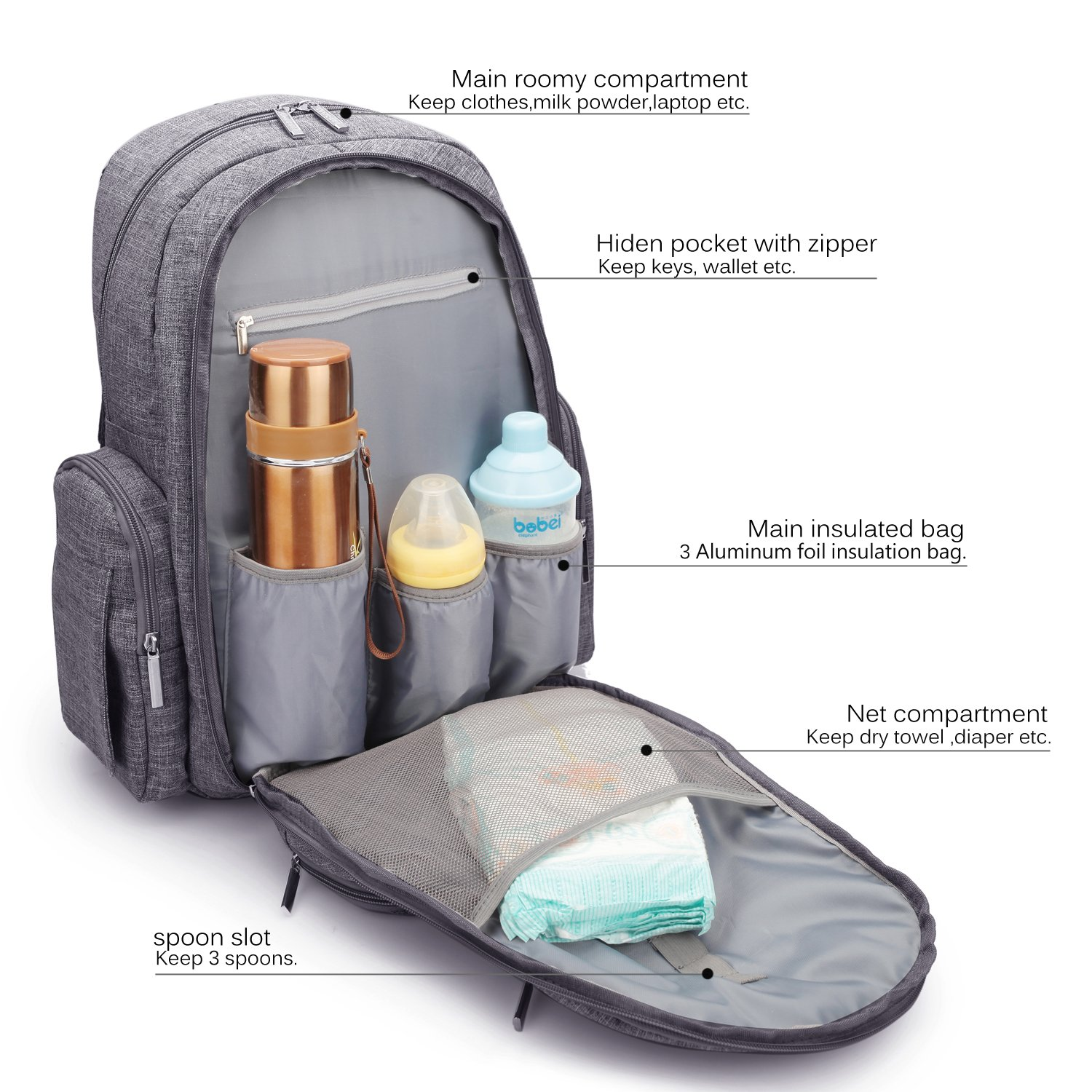Amazon.com : CoolBELL Baby Diaper Backpack With Insulated Pockets/Large  Size Water-resistant Baby Bag/Multi-functional Travel Knapsack Include  Changing Pad ...