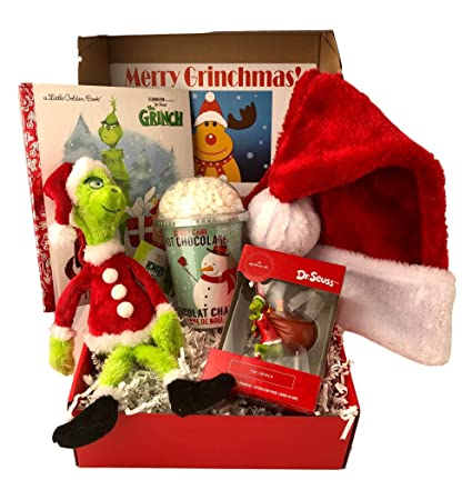 Ornament Grinch who stole Christmas dressed as Santa Claus NEW with gift box