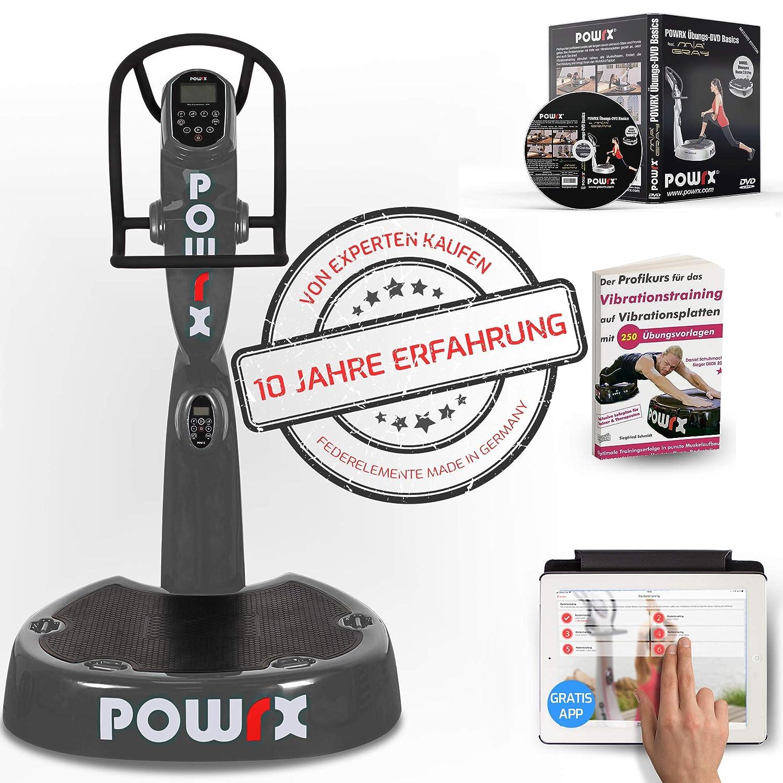 POWRX Vibrationsplatte mit Säule Pro Evolution 3.5 inkl. Zubehörpaket I Effektives Vibrationstraining I 3D Vibration Wie im Studio I 4 Farben I Jetzt mit App