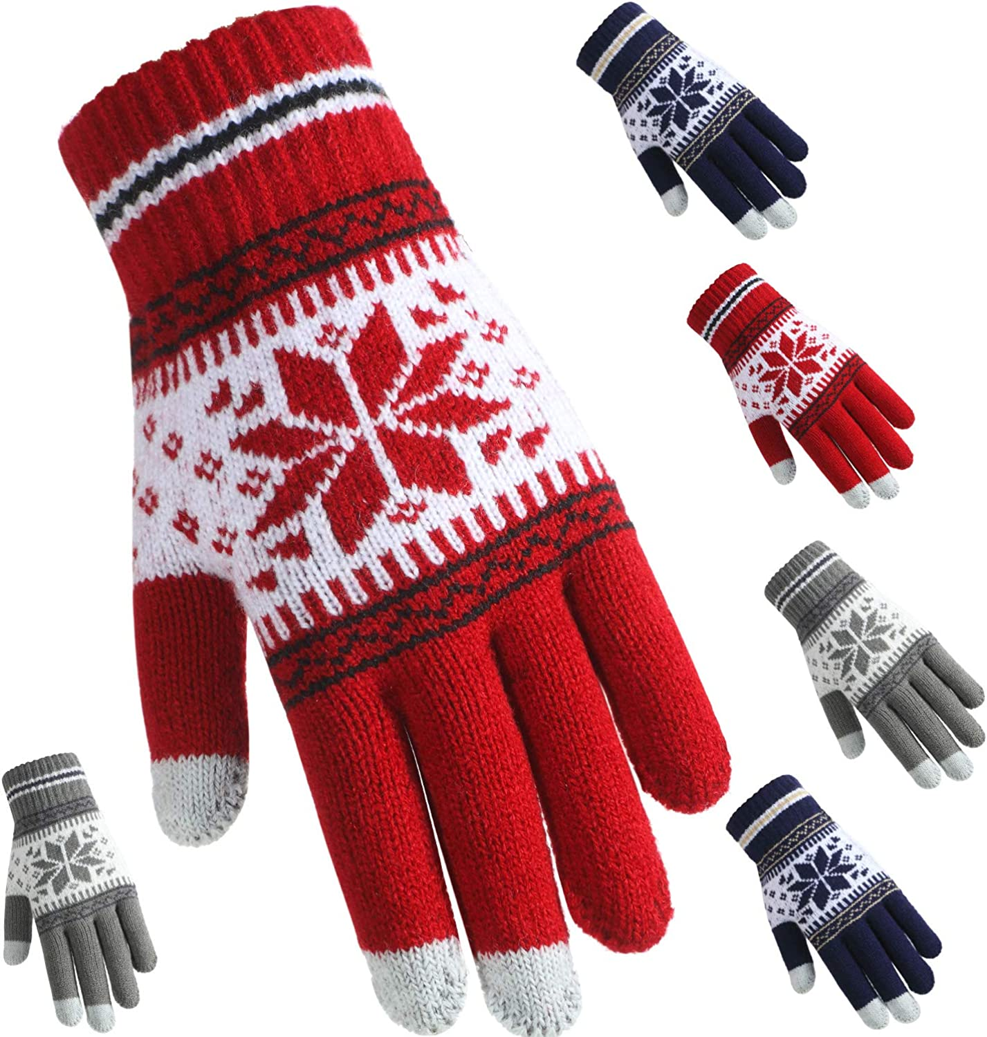 3 Pairs Texting Touchscreen Gloves Stretch Knitted Mechanic Winter Warm Gloves