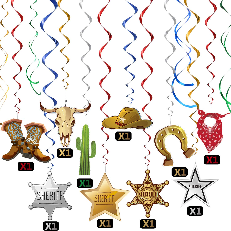 Blulu Western Party Dekorationen Pack H/ängende Wirbel Folie Wirbelt Party Decke Dekorationen Western Cowboy Thema Party Barnyard Thema Geburtstag Baby Dusche Dekor Event Lieferungen 30Ct