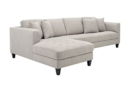 Sunpan Modern Arthur Tweed LAF Sofa Chaise, Beige Fabric