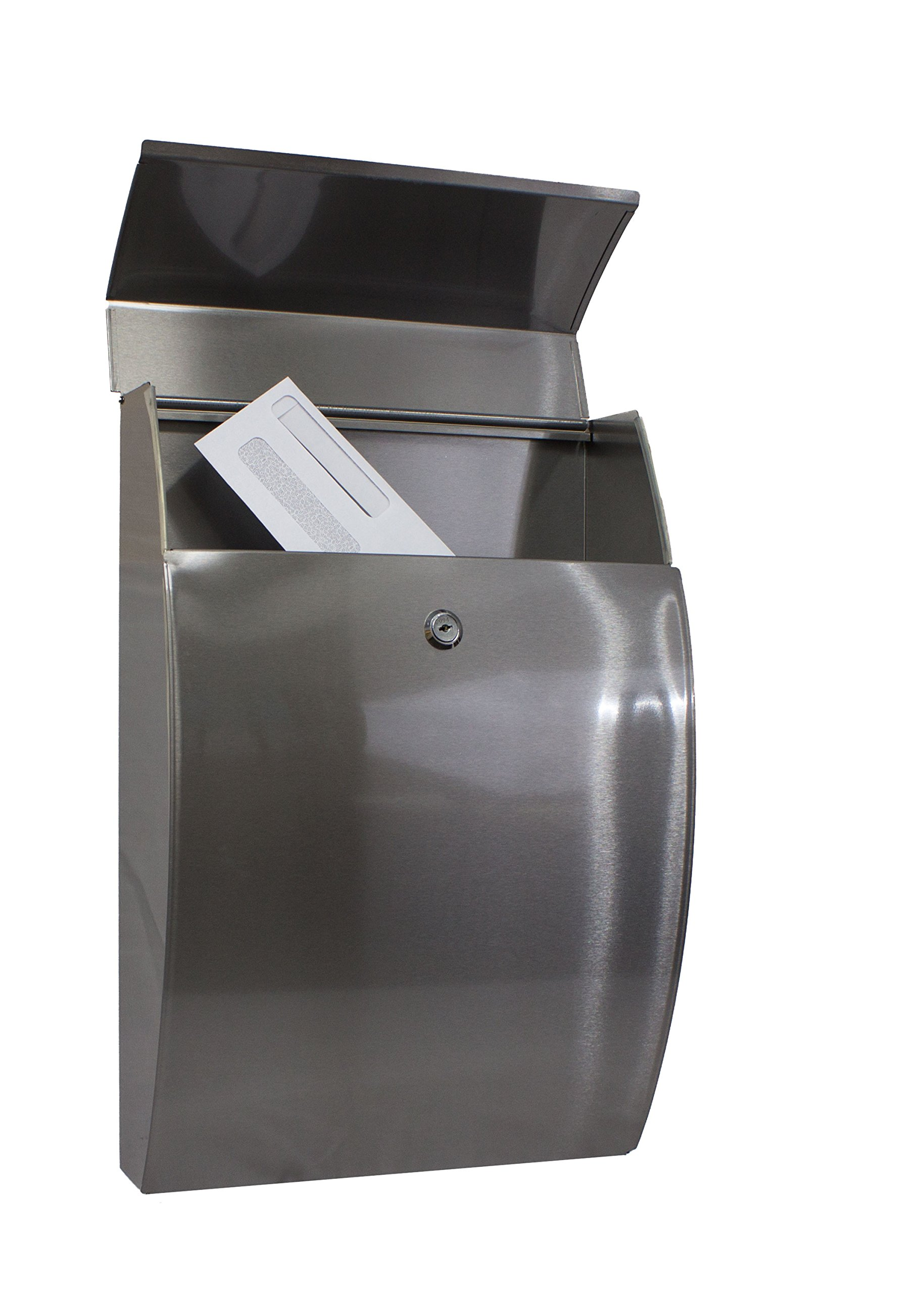 Qualarc WF-0906A Glacial Elliptical Stainless Steel Locking Wall Mount Mailbox, Silver
