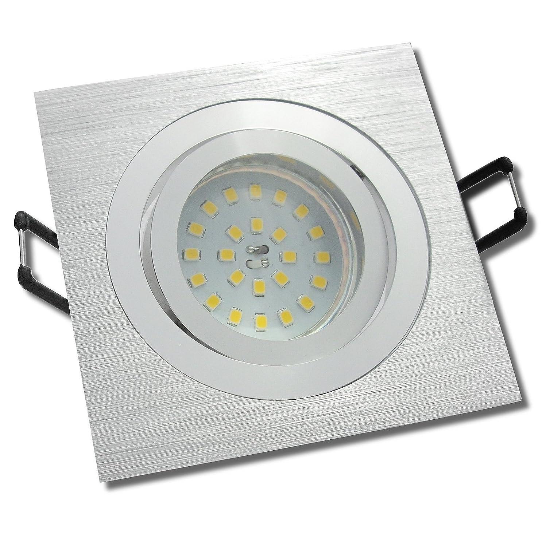 7 Stück SMD Modul Einbauleuchte Elisa 230 Volt 7 Watt Schwenkbar Silber Warmweiß