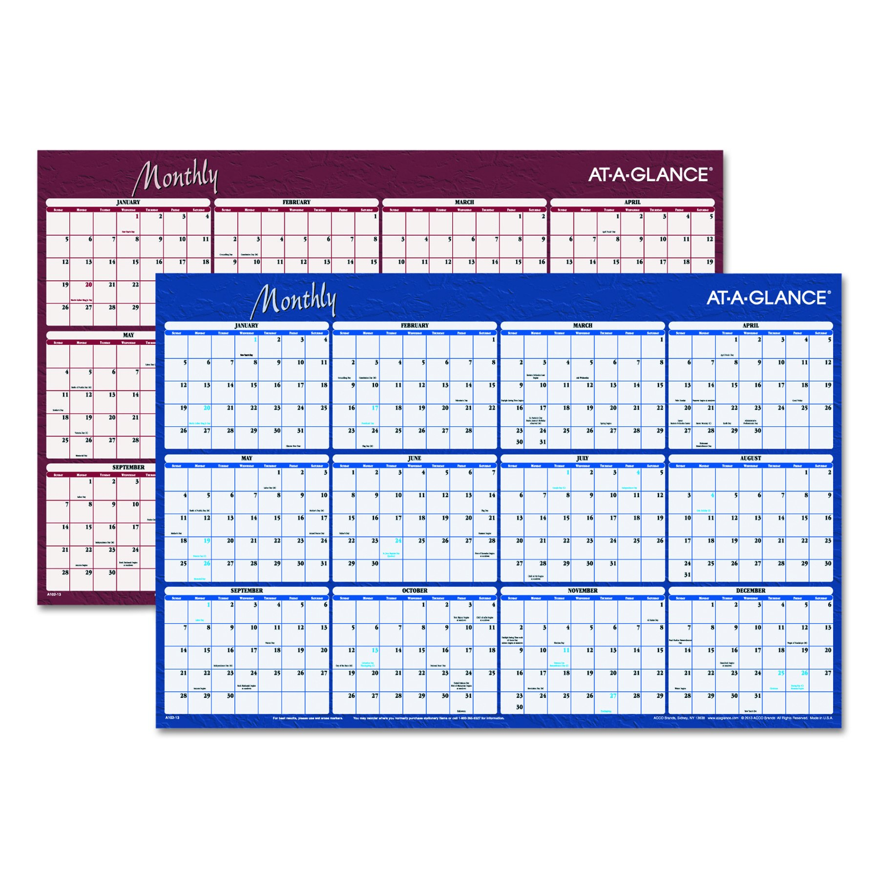 AT-A-GLANCE A102 Reversible Horizontal Erasable Wall Planner, 36 x 24, 2016