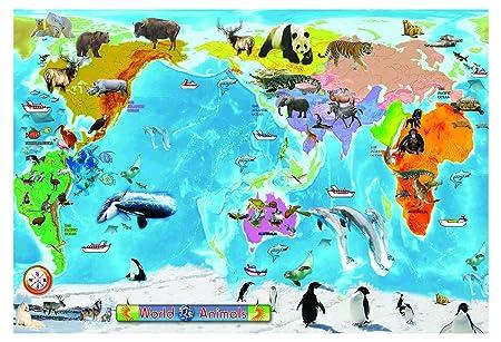 Huge laminated animal world map educational teaching kids poster huge laminated animal world map educational teaching kids poster wall chart gumiabroncs Images