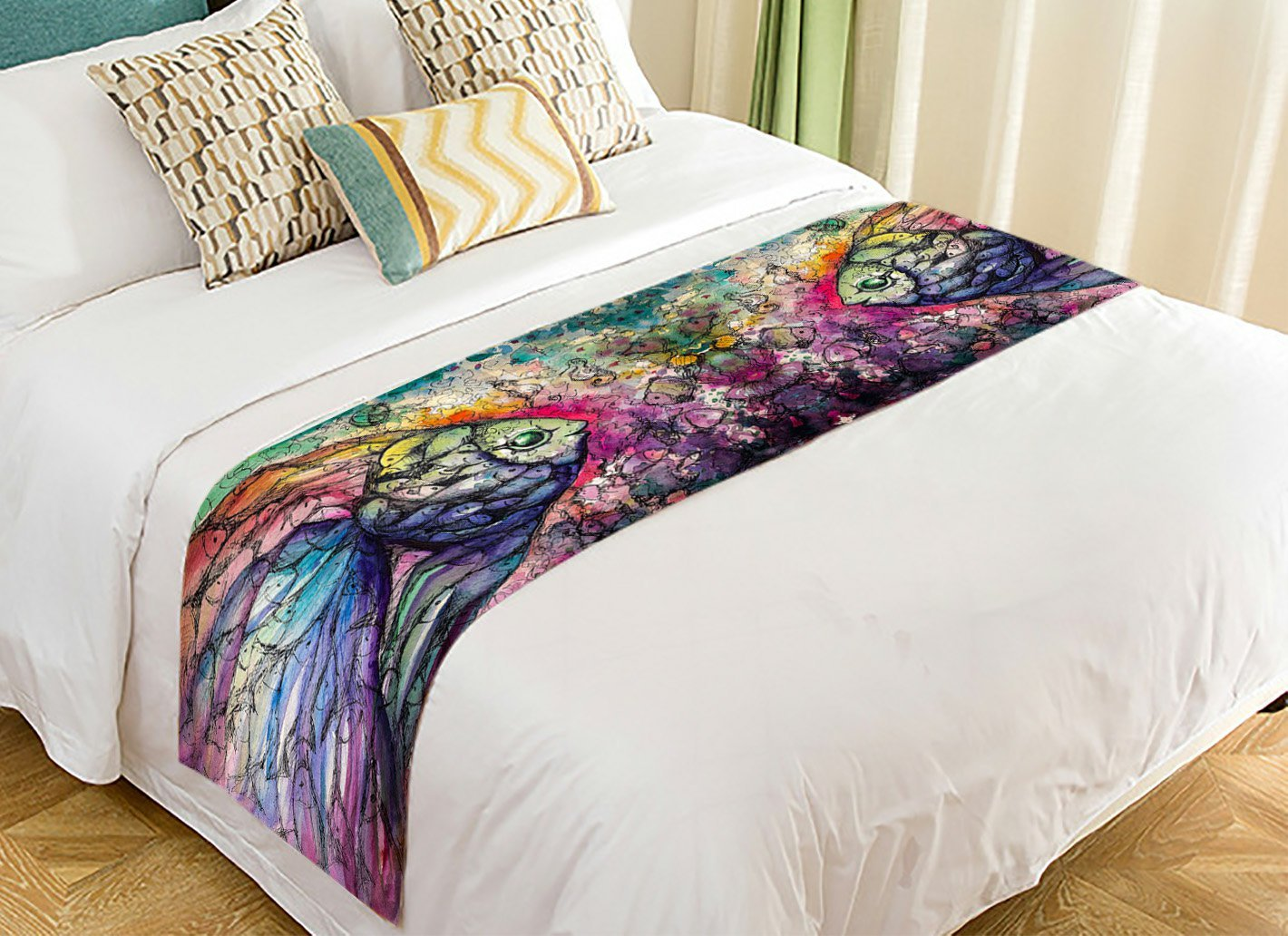 PicaqiuXzzz Custom Abstract art Ocean Animal Bed Runner, Fish on the Coral Reef Bed Runners And Scarves Bed Decoration 20x95 inch