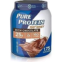 Pure Protein Powder, Whey, High Protein, Low Sugar, Gluten Free, Rich Chocolate, 1.75 lbs