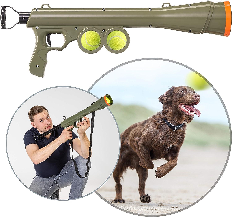 Pro PetCare - Cañón para Perros, con Alcance de 15 m, Juguete Impermeable para Perros, Incluye 2 Pelotas