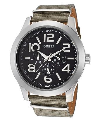amazon com guess w10617g1 mens rugged green watch watches guess w10617g1 mens rugged green watch