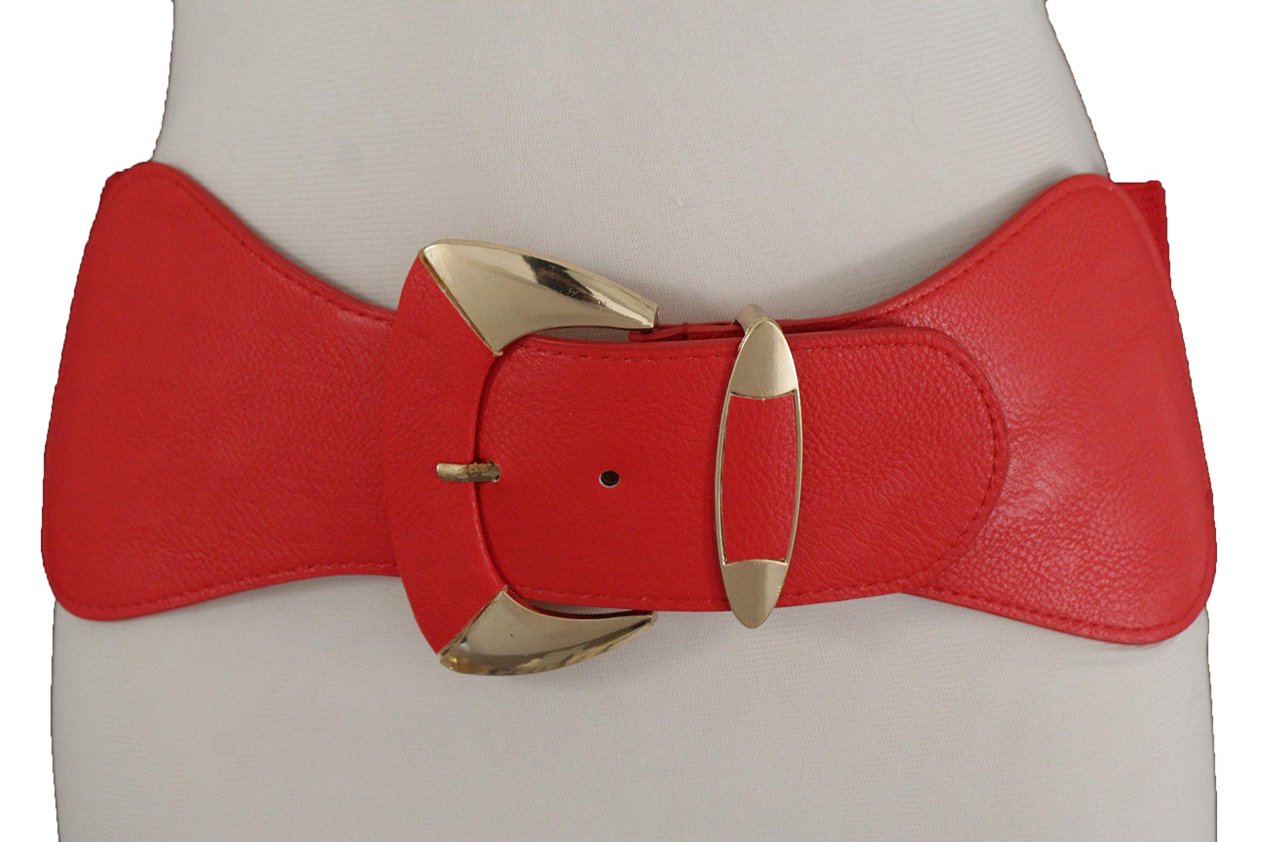 TFJ Women Fashion Wide Belt Elastic Hip High Waist Gold Metal Buckle Fits S M Red