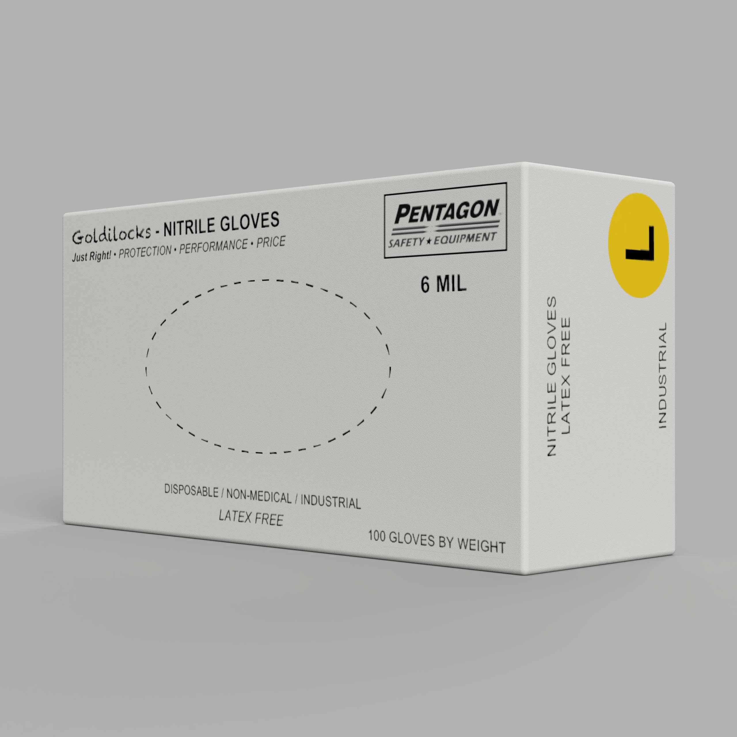 Goldilocks: 6 mils Disposable Nitrile Gloves - Size L