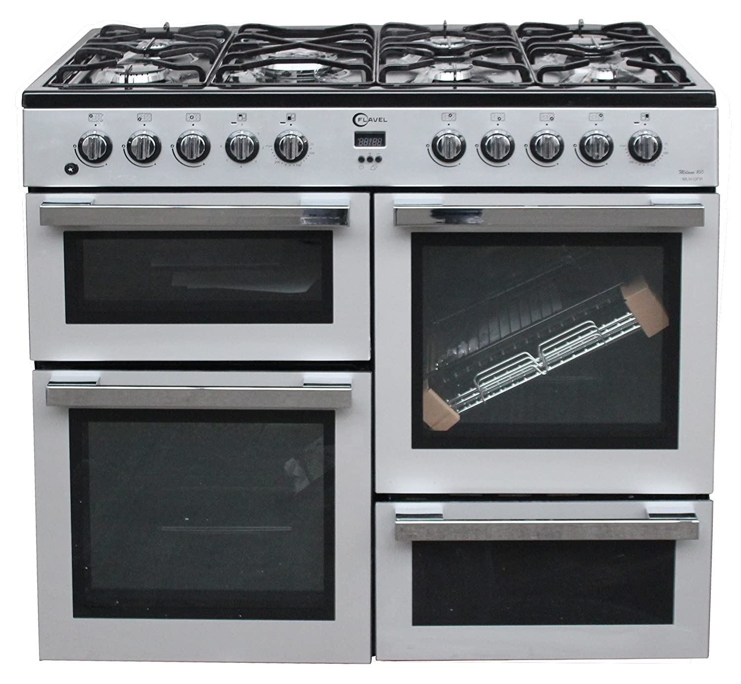 flavel mln10frs 100cm range cooker silver amazon co uk large