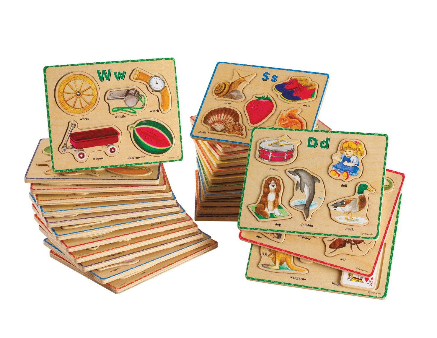 School Specialty ABC Puzzles - 8 1/2 x 6 3/4 inches - Set of 26 - Wooden