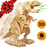 ROKR Walking Trex Dinosaur 3D Wooden Puzzle Building Craft Kit T-Rex Toy for Kids,Sound Control Robot Model for Children 7 8