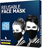 BRITISH BASICS Branded Reusable Cotton Cloth Face Mask. Unisex Washable mouth cover for Men & Woman. Anti Dust Mask for Cycling, Jogging, Walking, Travel etc - Free Size - Black - 1 Pack