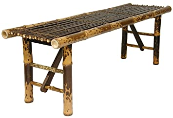 Oriental Furniture Simple Rustic Unique Coffee Table, 4 Feet Japanese Style  Split Bamboo Pole