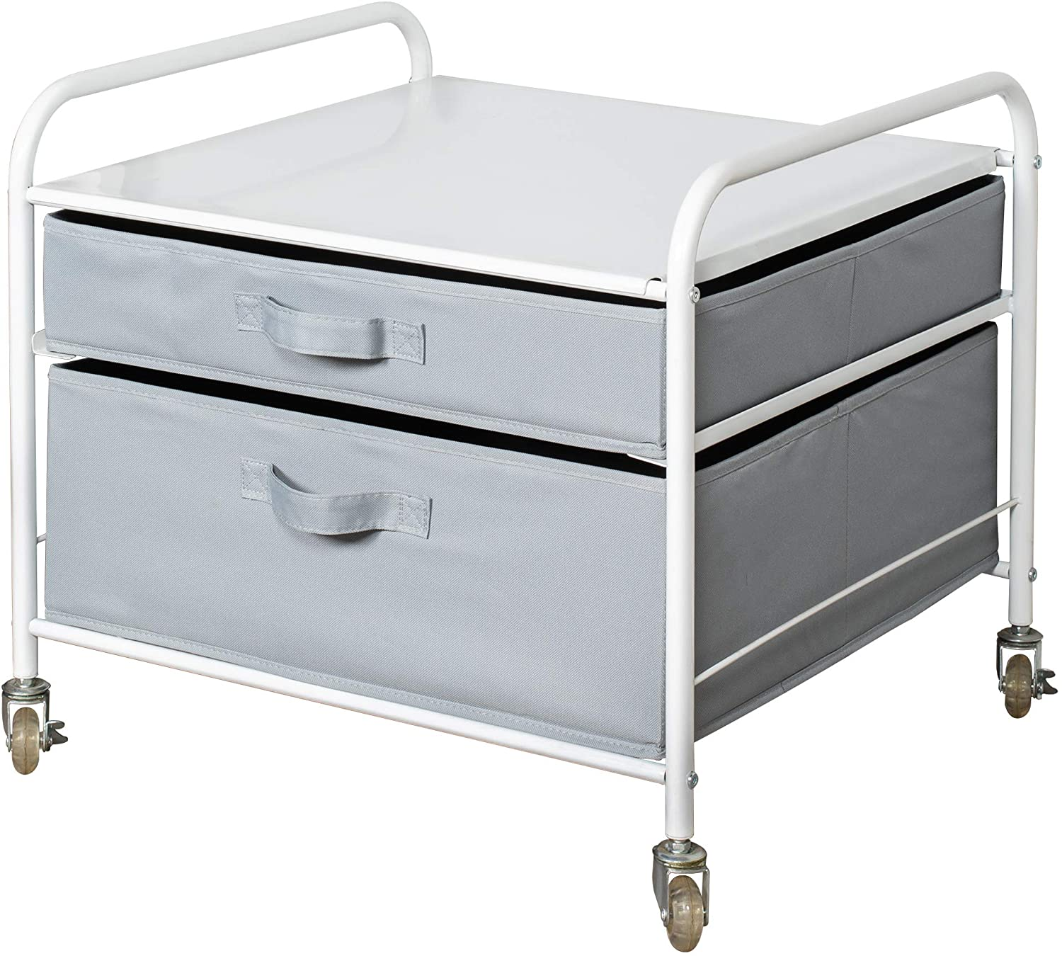 The Fridge Stand Supreme - Drawer Organization - White Frame with Light Gray Drawers