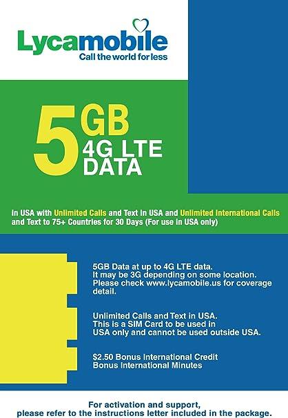 Tarjeta SIM prepaga de 4 GB 4G LTE, llamadas internacionales y mensajes de texto ilimitados, 30 días: Amazon.es: Electrónica