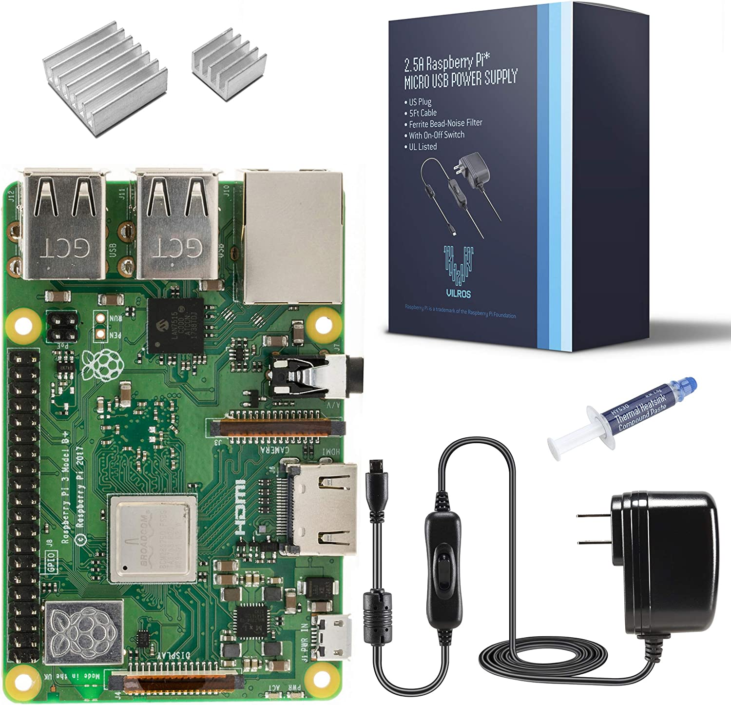 Vilros Raspberry Pi 3 Model B+ (B Plus)-with 2.5A Power Supply [2018 Model]