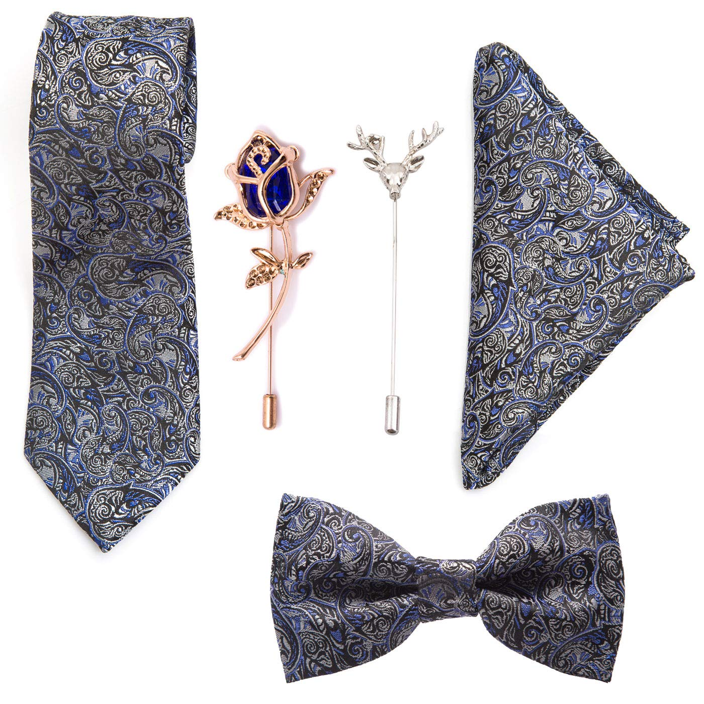 915737e8fe27 To The Nines Men's Silk Cotton Pocket Square, Bow Tie and Lapel Pins  (Blue): Amazon.in: Clothing & Accessories