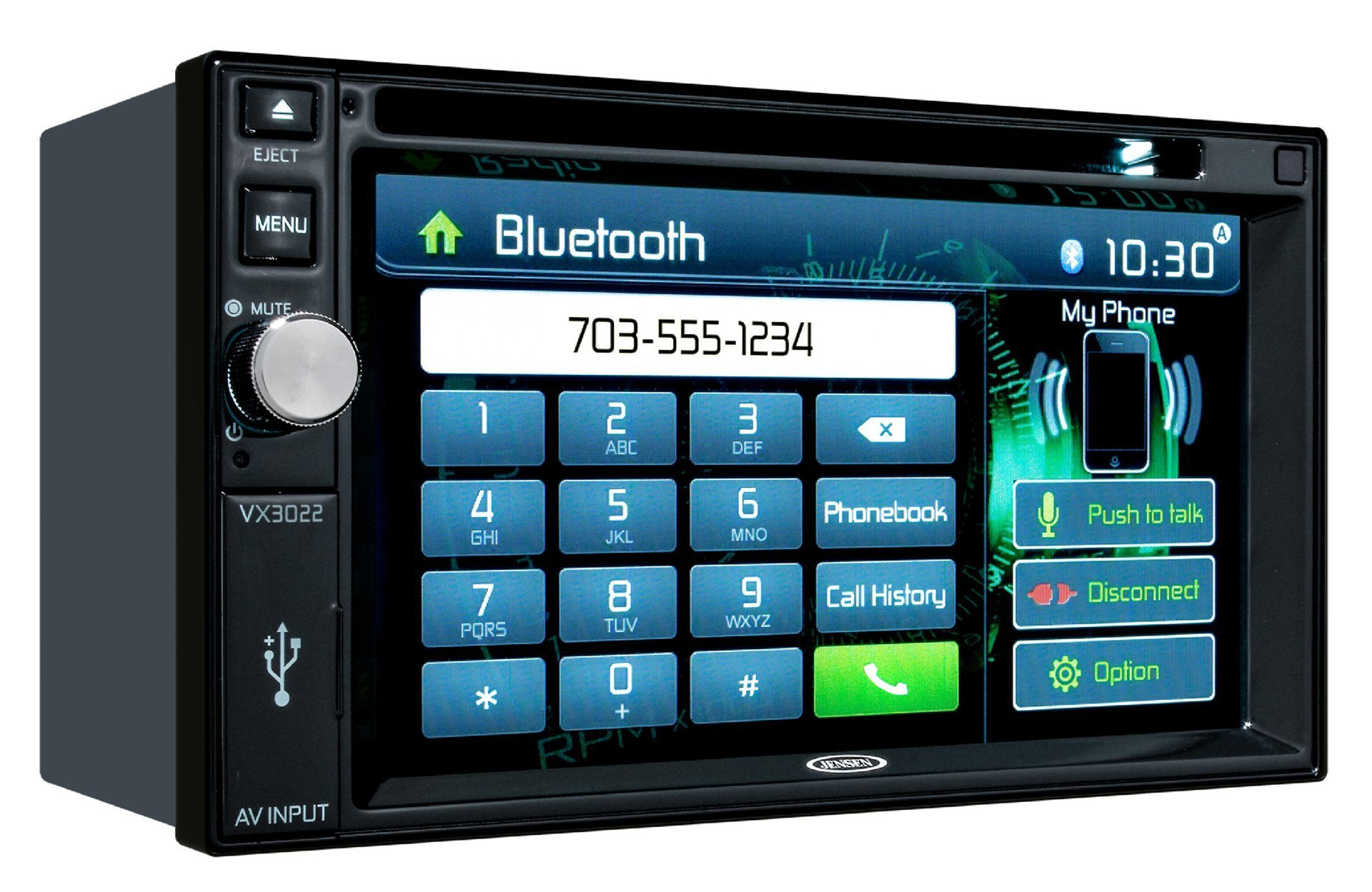 Jensen VX3022 6.2 inch LCD Multimedia Touch Screen Double Din Car Stereo with Built-In Bluetooth, CD/DVD Player & USB Port (Certified Refurbished)