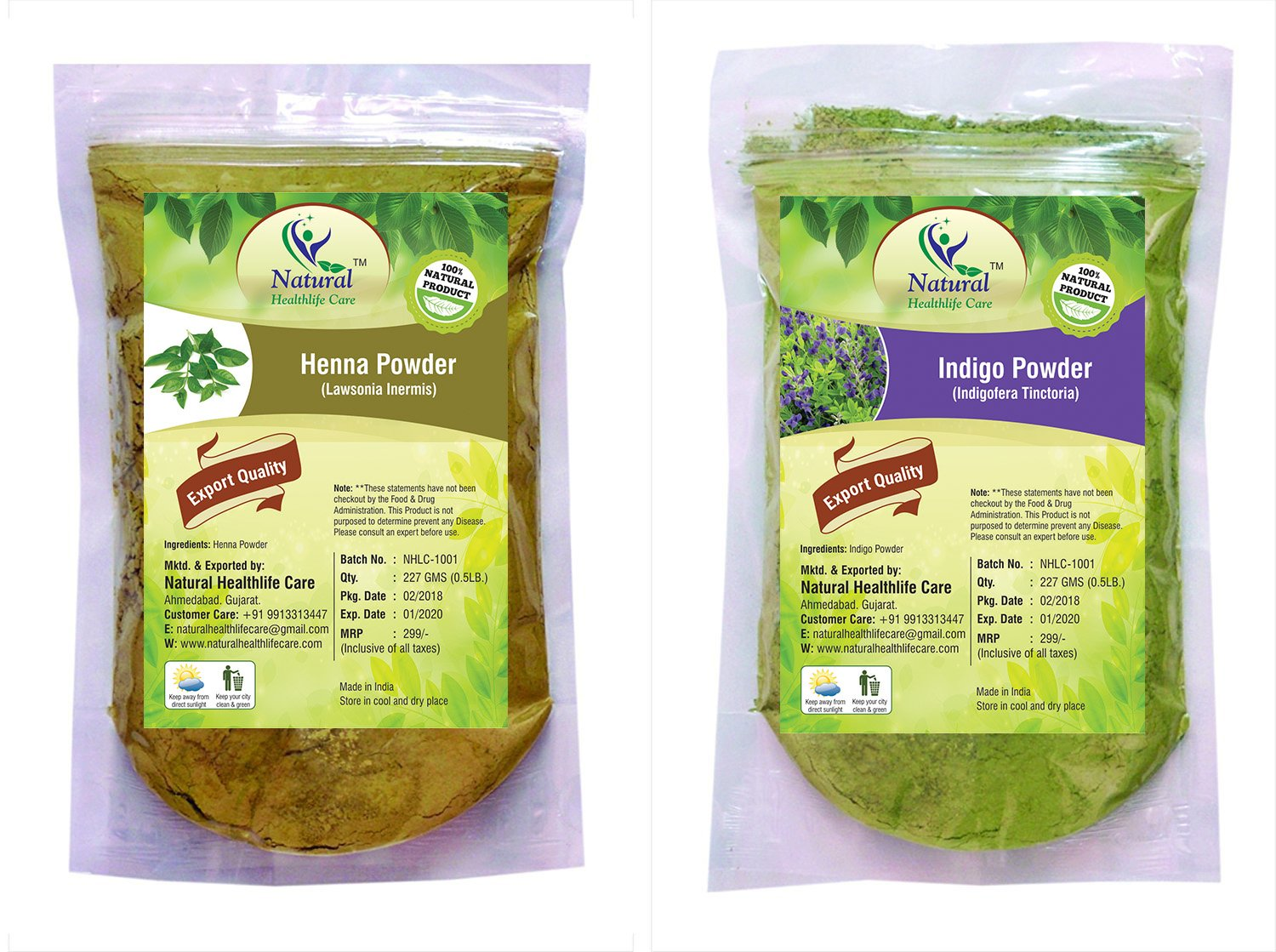 Natural Healthlife Care Natural Henna/Lawsonia Inermis and Indigo/Indigofera Tinctoria Leaves Powder, 227g (henna indigo -454) - Pack of 2 product image