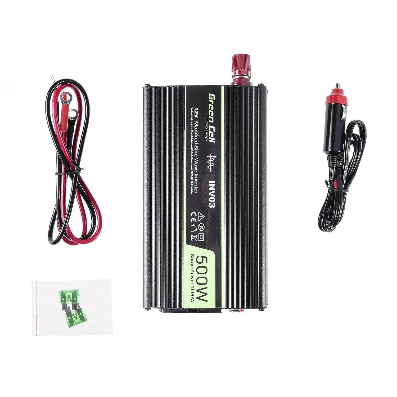 Stecker f/ür Zigarettenanz/ünder inkl USB Gr/ün Cell/® 500/W Power Inverter DC 12/V auf AC 230/V 240/V Auto Spannung Konverter Ladeanschluss und direkten Anschluss an Kfz Akku