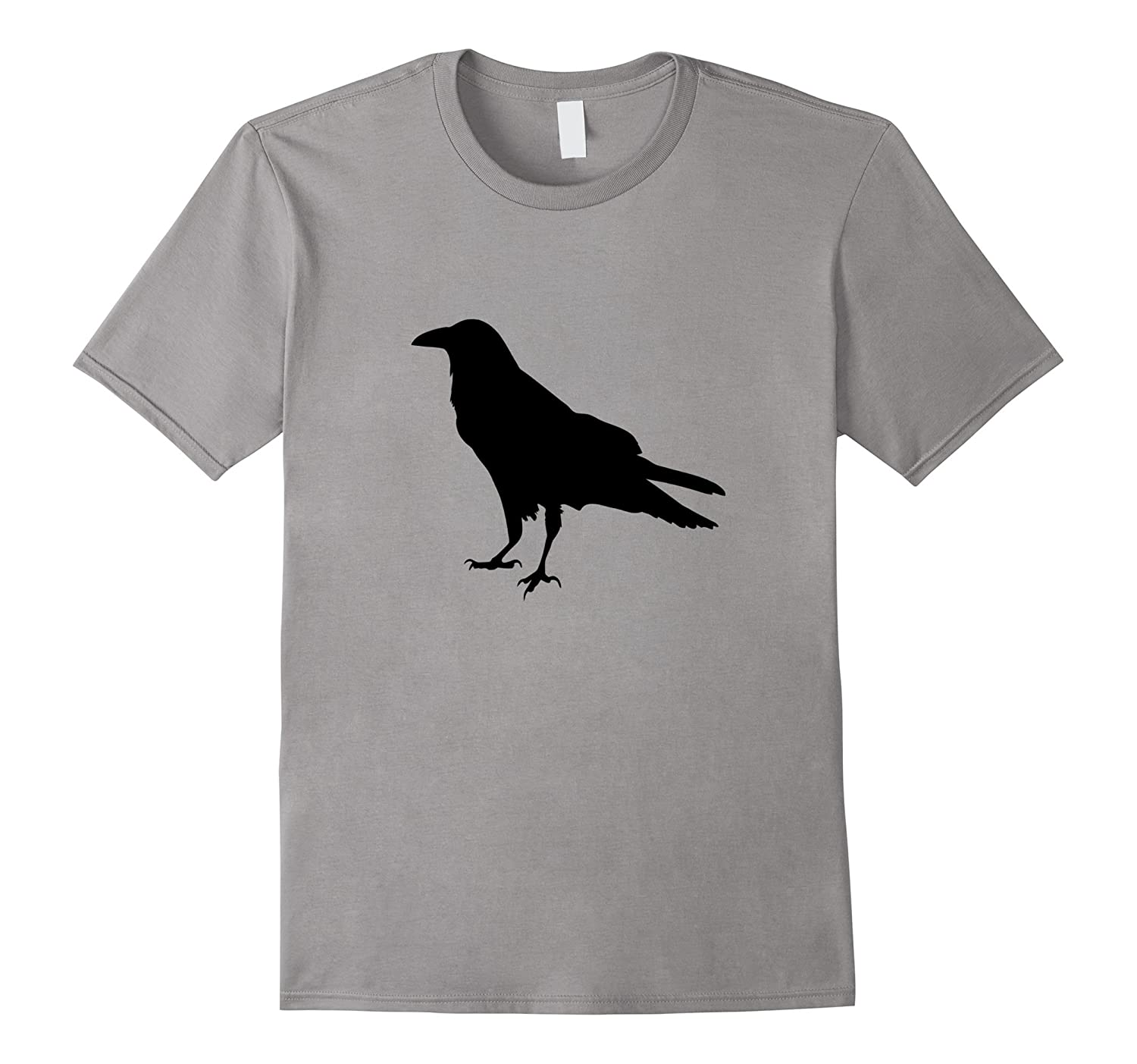 Cool Minimalist Raven or Crow Silhouette Outline T-Shirt-AZP