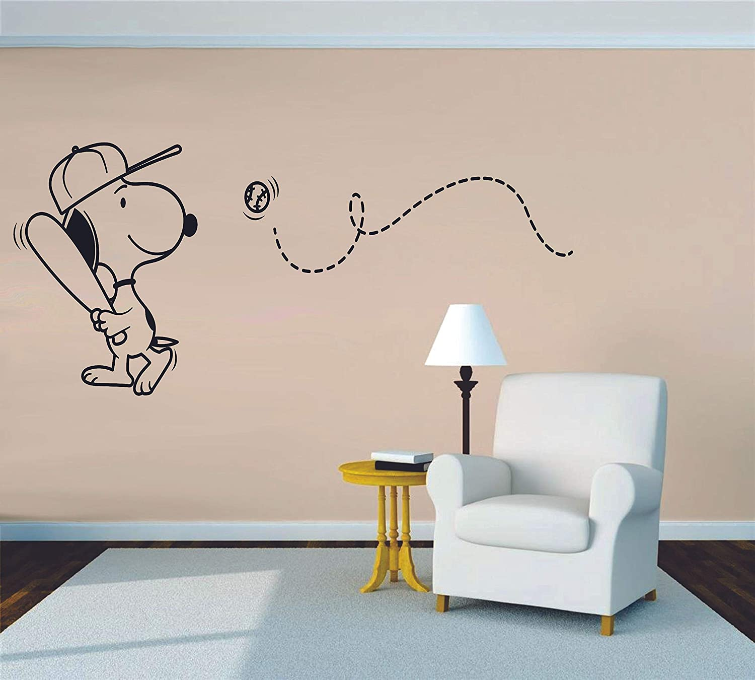 4x10 inch Size Snoopy Wall Decals for Kids Bedroom//Snoopy Dog Boy Room Decor//Vinyl Art Stickers Decal Childrens Rooms//The Peanuts Movie Cartoon Character Baseball Sports Fun Dogs Decoration