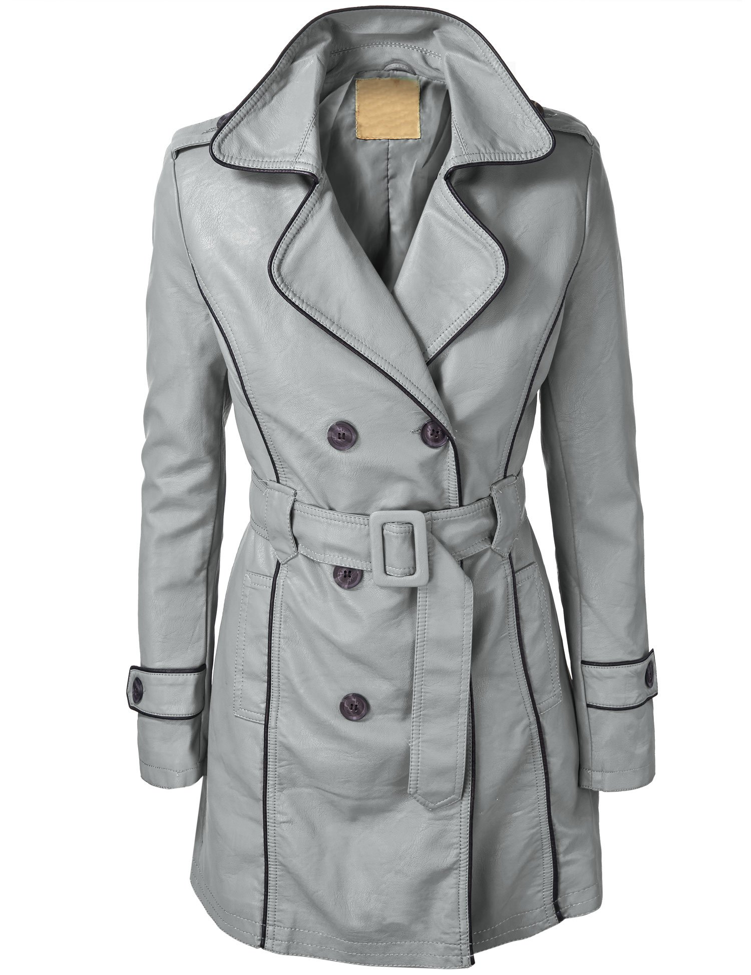 WJC739 Womens Jet Setter Faux Leather Trench Coat XS GRAY