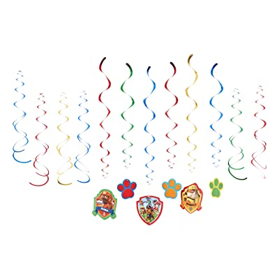 American Greetings Nickelodeon, Paw Patrol Hanging Swirl Decorations, 12-Count: Toys & Games