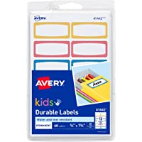 """Durable Labels for Kids' Gear, Assorted Border Colors, Handwrite, 3/4"""" x 1-3/4"""", 60 Labels"""