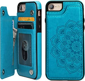 Vaburs iPhone 7 iPhone 8 iPhone SE 2020 Case Wallet with Card Holder, Embossed Mandala Pattern Flower Premium PU Leather Double Magnetic Buttons Flip Shockproof Protective Case(Blue)