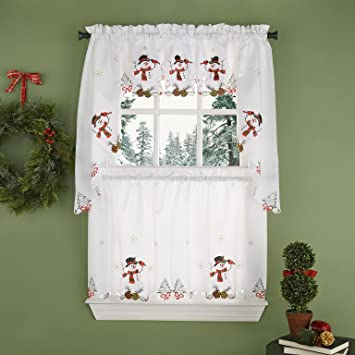... Snowman Curtains Kitchen Amazon Com Snowman Kitchen Curtain Tier Pair  Home Kitchen ...