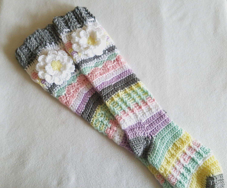 Amazon Crochet Knee High Socks For Girls And Women Handmade