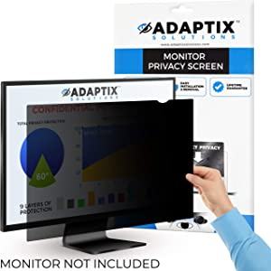 "Adaptix Monitor Privacy Screen 20"" – Info Protection for Desktop Computer Security – Anti-Glare, Anti-Scratch, Blocks 96% UV – Matte or Gloss Finish Privacy Filter Protector – 16:9 (APF20.0W9)"