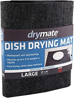 "product image for Drymate Dish Drying Mat, Premium XL Size (19"" x 24""), Kitchen Dish Drying Pad – Absorbent/Waterproof – Machine Washable (Made in the USA) (Charcoal)"