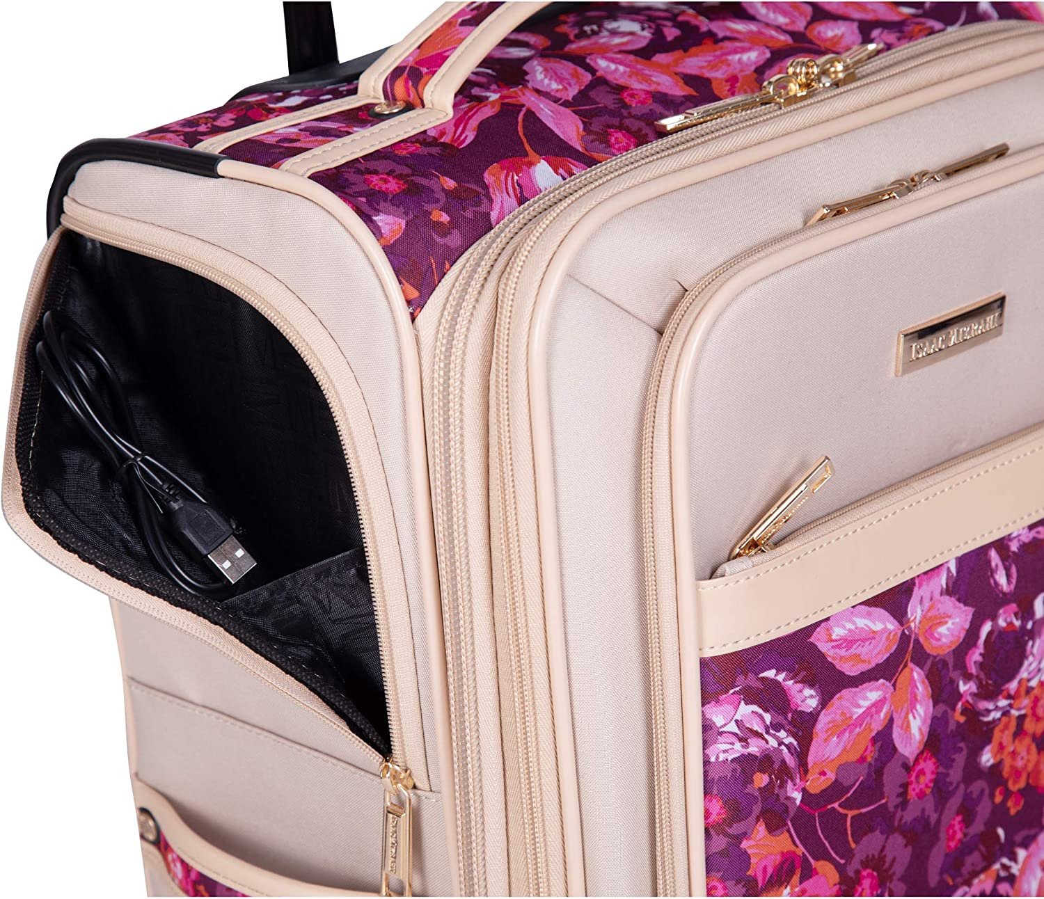 Isaac Mizrahi Irwin 2 4-Wheel Spinner Luggage Pink Floral, 4-Piece Spinner Luggage Set