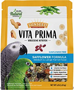 Sunseed Vita Prima Wholesome Nutrition Safflower Formula Large Parrot Food, 4 LBS