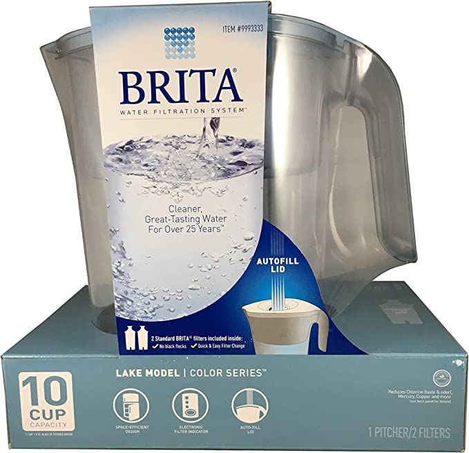 Brita Water Filter Pitcher 10 Cup With 2 Filters Model Lake Autofill Lid
