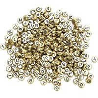 500Pcs Bead Organizer Letter Beads, Beads, Alphabet Letter Beads Clothing for Craft Jewelry DIY(Golden)