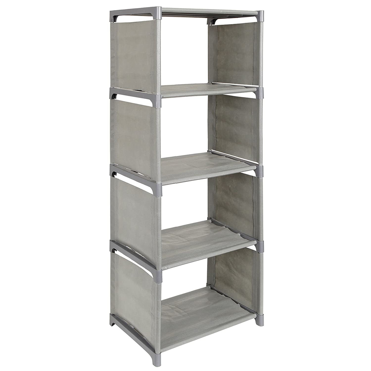 Dorm Plastic Fabric 5 Shelf Bookcase Storage Organizer