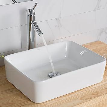 Kraus Kcv 121 White Rectangular Ceramic Bathroom Sink Vessel Sinks Amazon Com