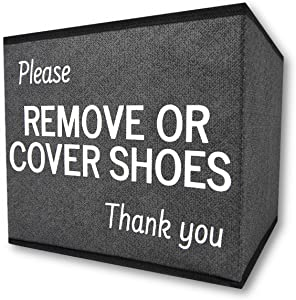 RE Goods Shoe Cover Box   Disposable Shoe Bootie Holder For Realtor Listings and Open Houses   Please Remove Or Cover Shoes Bin   Shoe Bootie Box
