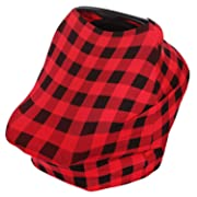 Baby Car Seat Canopy, Privacy Nursing Breastfeeding Cover for Boys and Girls (Plaid), Stretchy Poncho, Infinity Scarf, Shawl, Shopping Cart, Stroller, Carseat Covers by KiddyStar