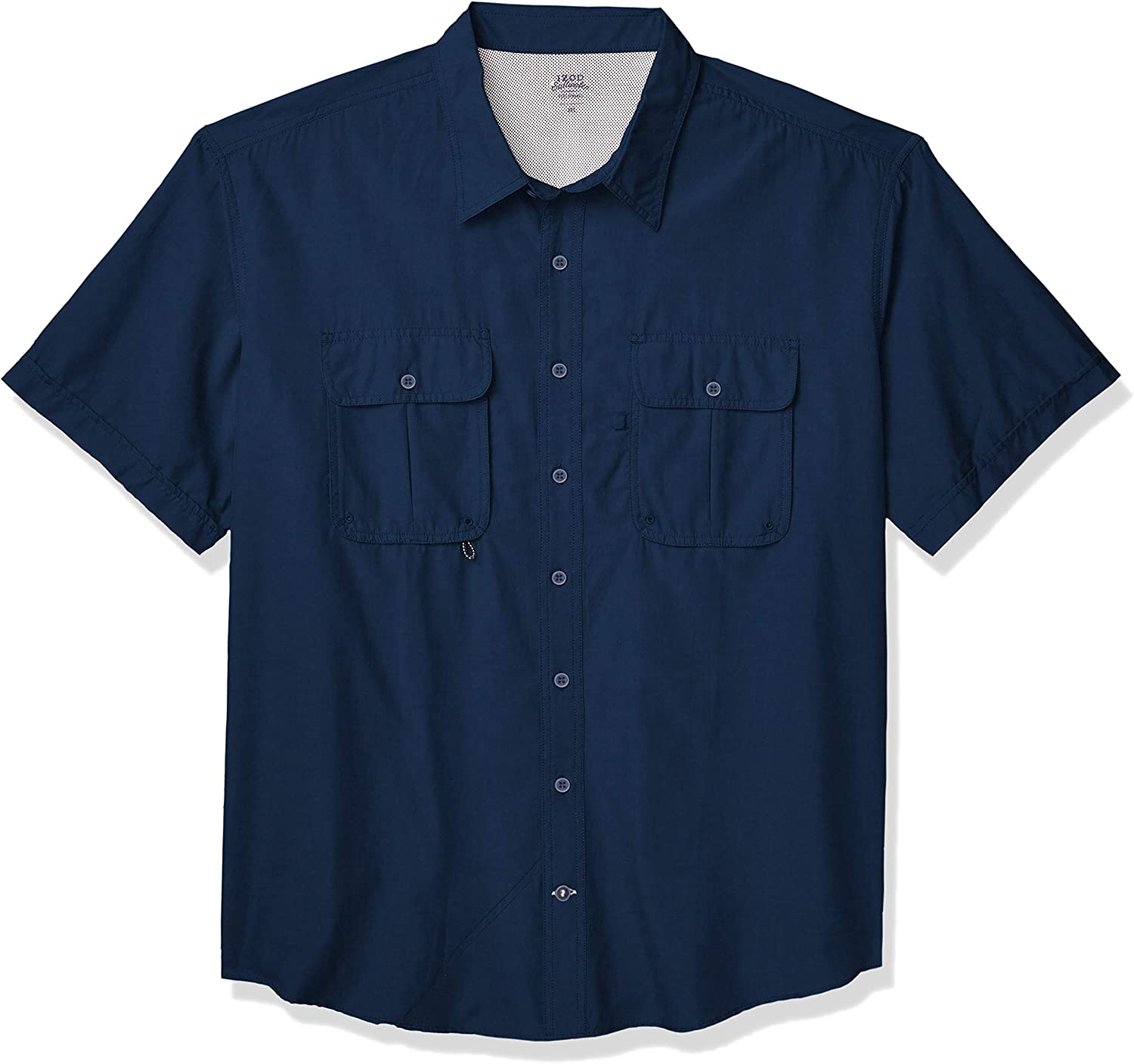IZOD Men's Big & Tall Big and Tall Short Sleeve Beach Button Down Solid Shirt