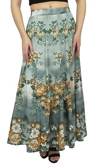 Bimba Falda de Algodon con Estampado Floral, Falda Elastica de ...